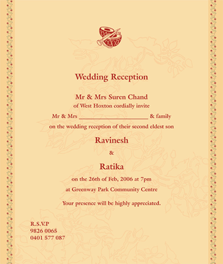 Indian Wedding Reception Invitation Quotes: Indian Wedding Cards