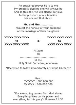 English Wedding Card Sample 1