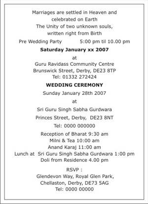 Wedding Programme Wordings
